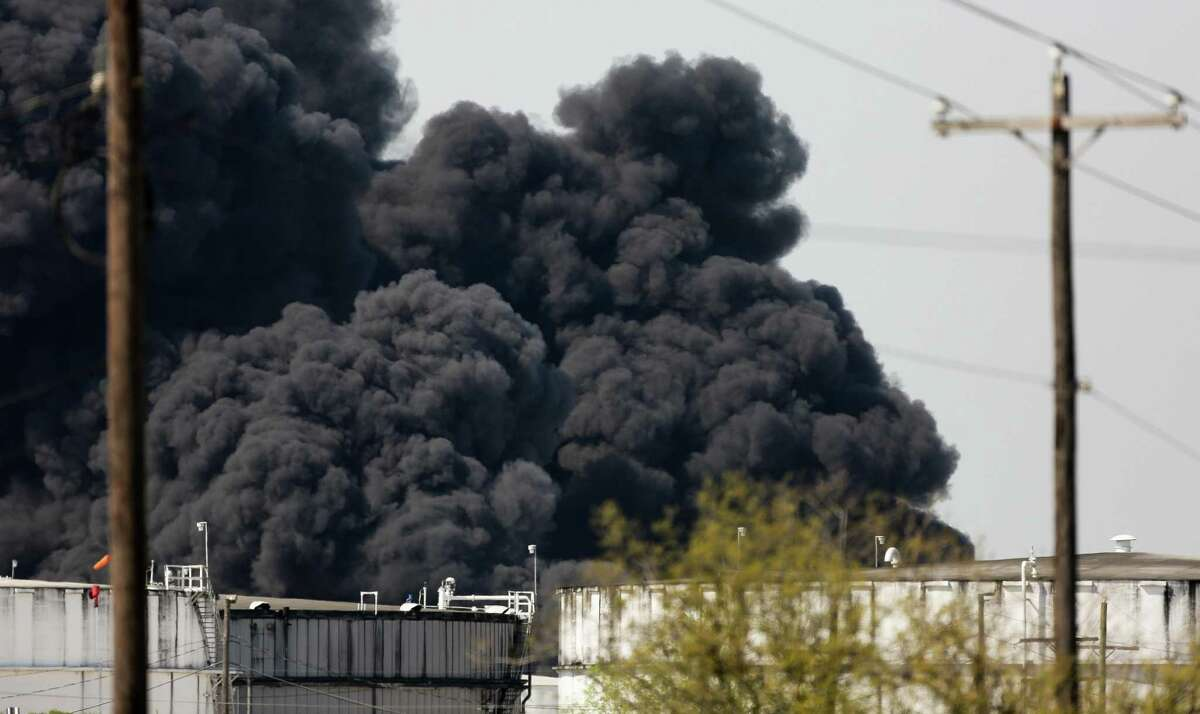 The petrochemical fire at Intercontinental Terminals Company reignited as crews tried to clean out the chemicals that remained in the tanks Friday, March 22, 2019, in Deer Park, Texas.