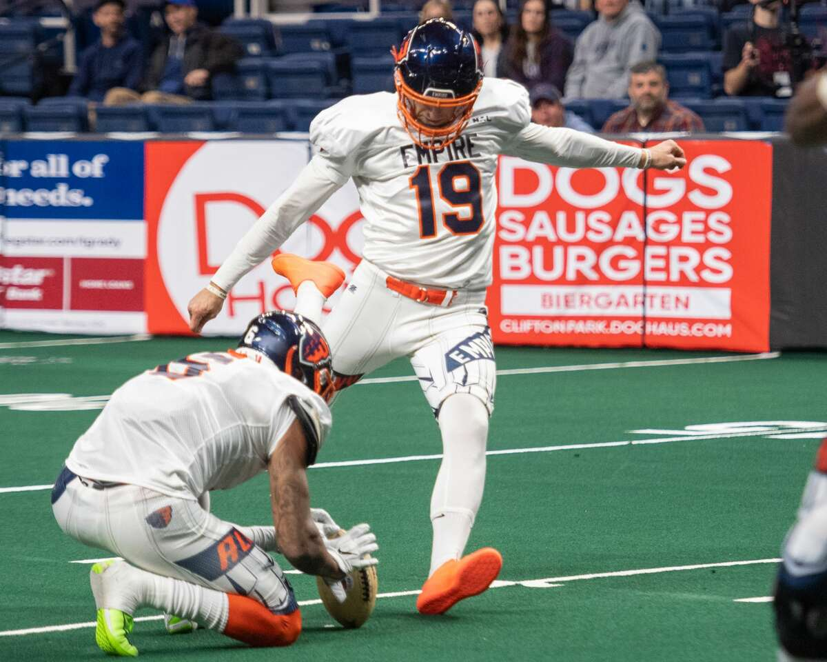 Burnt Hills native Craig Peterson leads the National Arena League in PAT percentage (.909) through five games of the Arena Football League season. (Jim Flacco/Special to the Times Union)