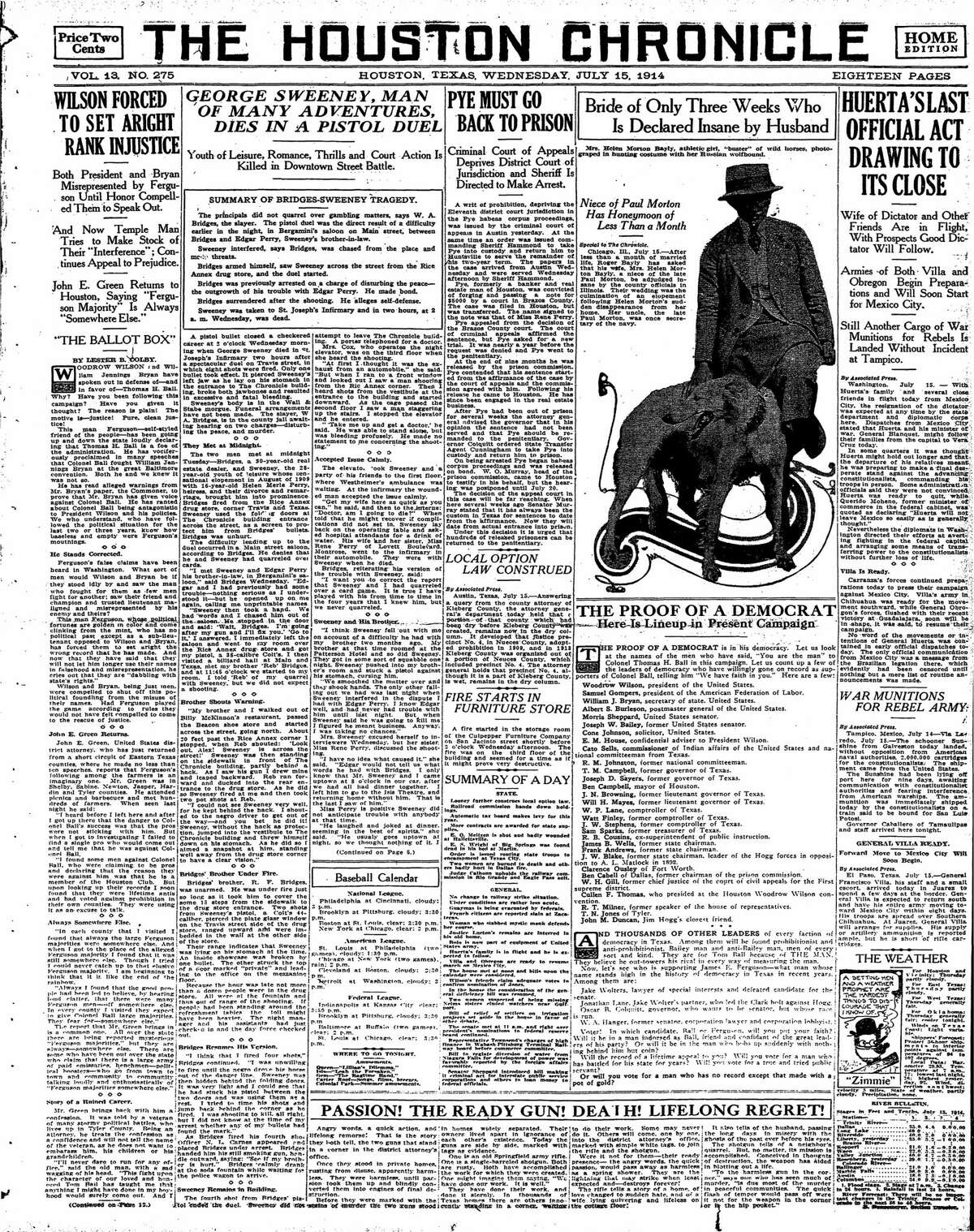 Houston Chronicle front page from July 15, 1914.