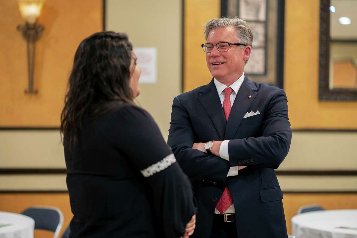 Texas Attorney General candidate Joe Jaworski speaks with residents of Laredo and surrounding areas, Wednesday, July 14, 2021, at the Firefighters Union Hall.
