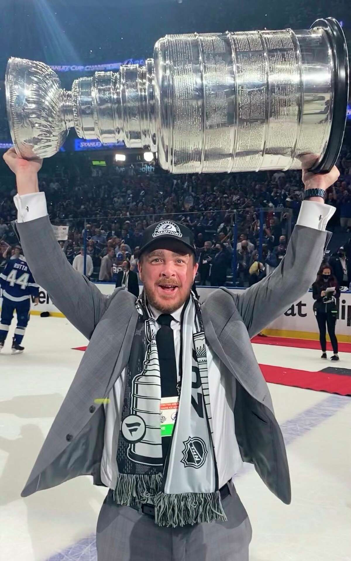 Big Rapids native Brian Garlock, in his eighth season as video coordinator with the Tampa Bay Lightning, skates with the Stanley Cup after his team won it earlier this month. He will be bringing it to Big Rapids for public viewing on Sunday. (Courtesy photo)
