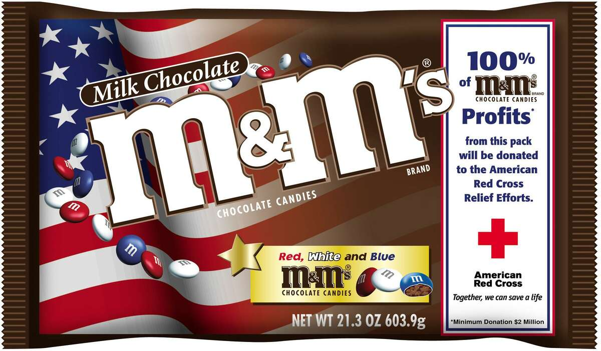 Red, white and blue M&Ms in a U.S. flag decorated package.