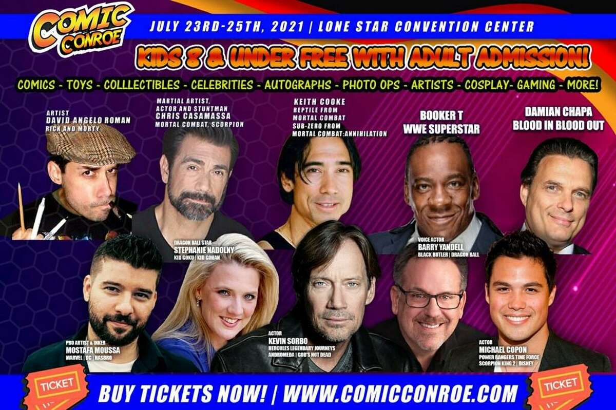 Galatic Events is brining Comic Conroe to the Lone Star Convention Center July 23-25. The graphic shows the featured guest coming to Comic Conroe.