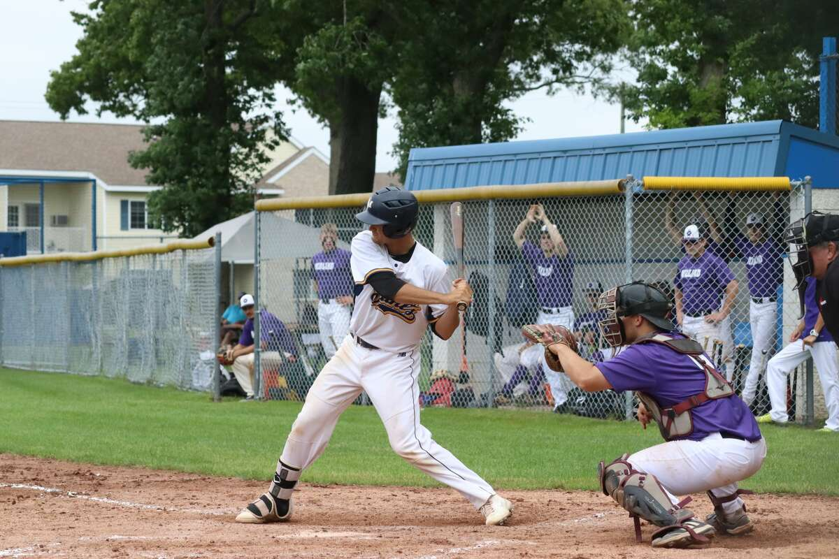 Jake Paganelli bats for the Saints during a game earlier this summer.