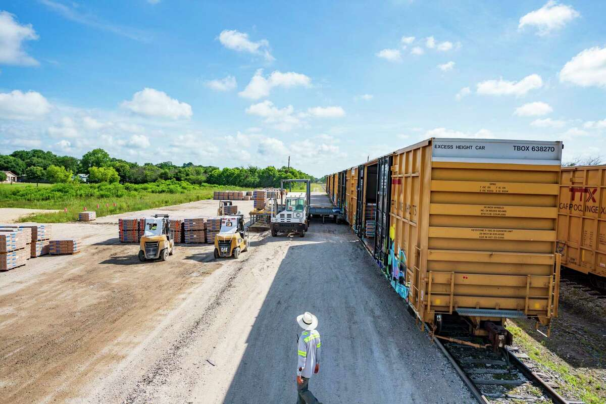 A general over view of TLD Ramp Inc. which developed a patented mobile platform which can be pulled up to any train at any railroad spur for unloading any palletized cargo. Friday, July 2, 2021, in Sealy
