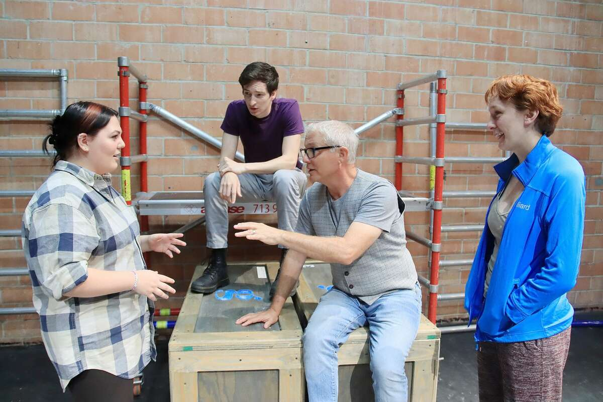 Angel Purl, left, works on a scene with with 4th Wall Theatre artistic director Philip Lehl, front, and guest artists Aaron Gonner and Arianna Stucki.