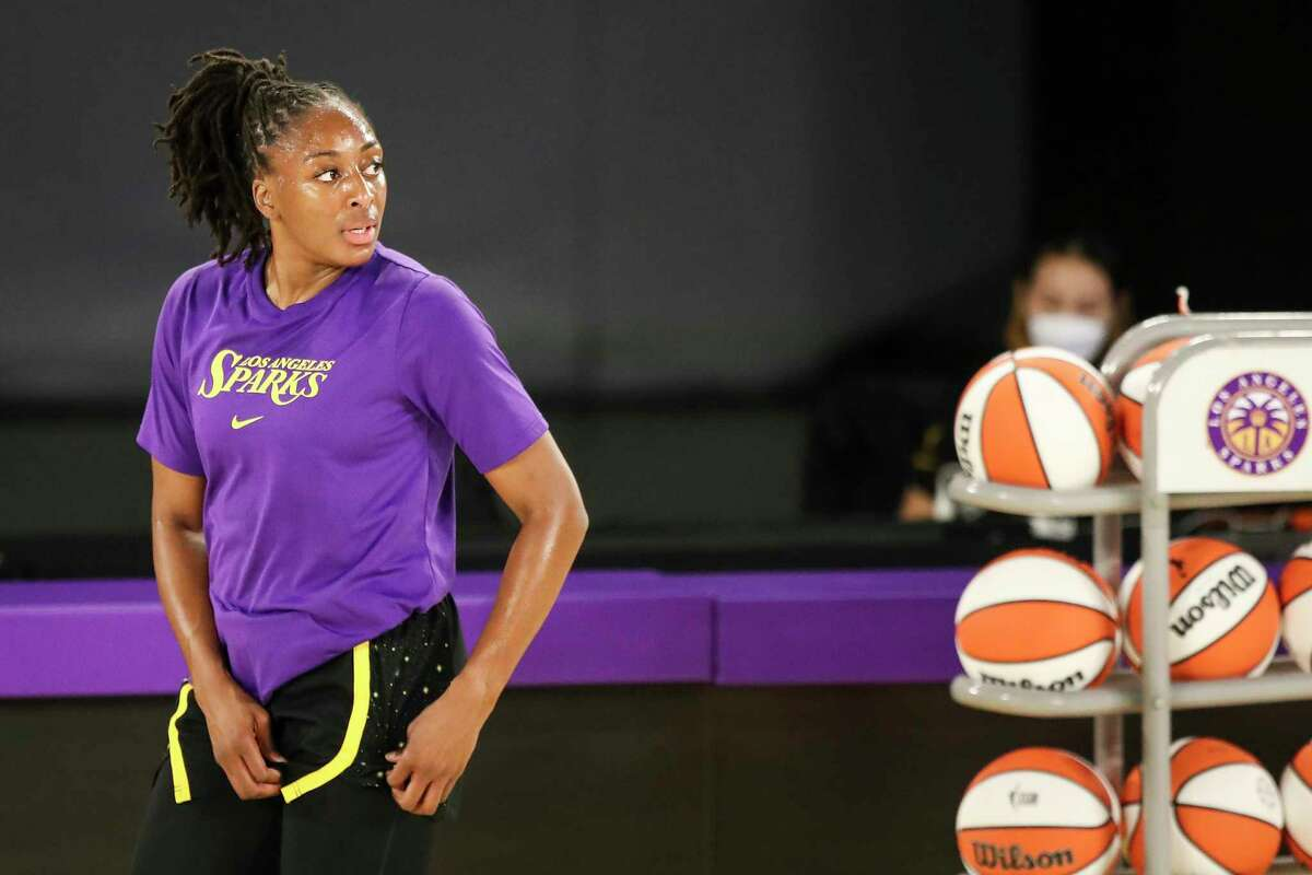 The Los Angeles Sparks' Nneka Ogwumike warms up before a game against the Dallas Wings at the Los Angeles Convention Center on May 14, 2021.