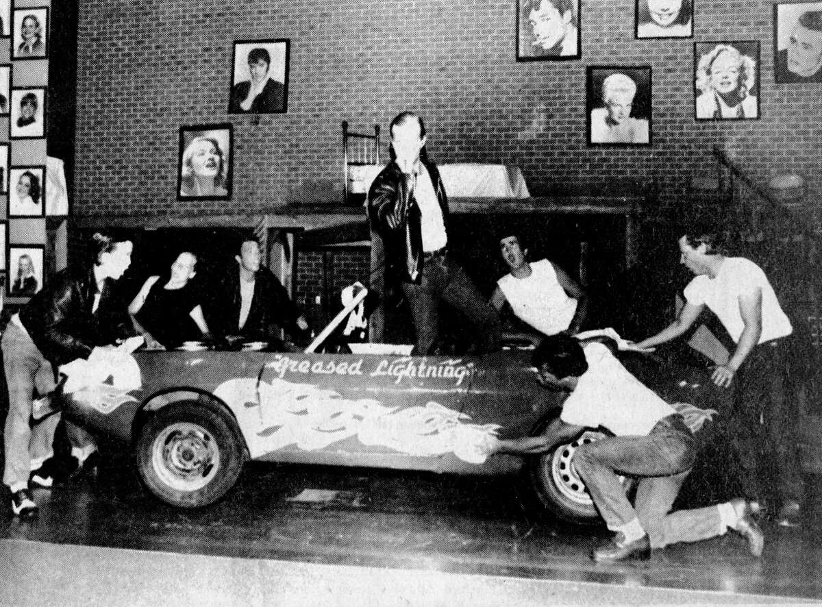 """The West Shore Community College production of """"Grease"""" begins tonight. (From left) Shown in the final rehearsals are Dean Anthony, Chris Milke, Rod Miller, Steve Walley, Tim Zeller, Jeff Butler and Richard Skocelas. The photo was published in the July 16, 1981 issue of the News Advocate. (Manistee County Historical Museum photo)"""