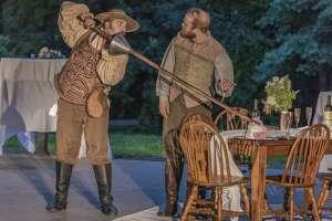 "Titus Muzi (Don Quixote) and Aidan Smerud (Sancho Panza) in Opera Saratoga's ""Don Quichotte at Camacho's Wedding."" (Photo: Gary Gold)"
