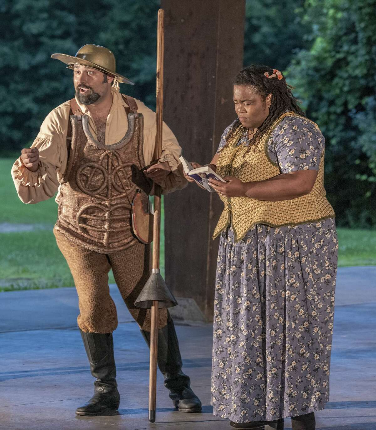 """Titus Muzi (Don Quixote), Jouelle Roberson (Grisostomo) in Opera Saratoga's """"Don Quichotte at Camacho's Wedding."""" (Photo: Gary Gold)"""