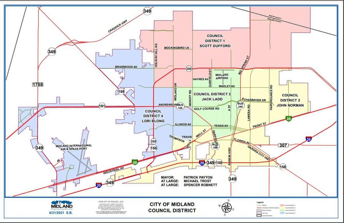 Midland City Council district map
