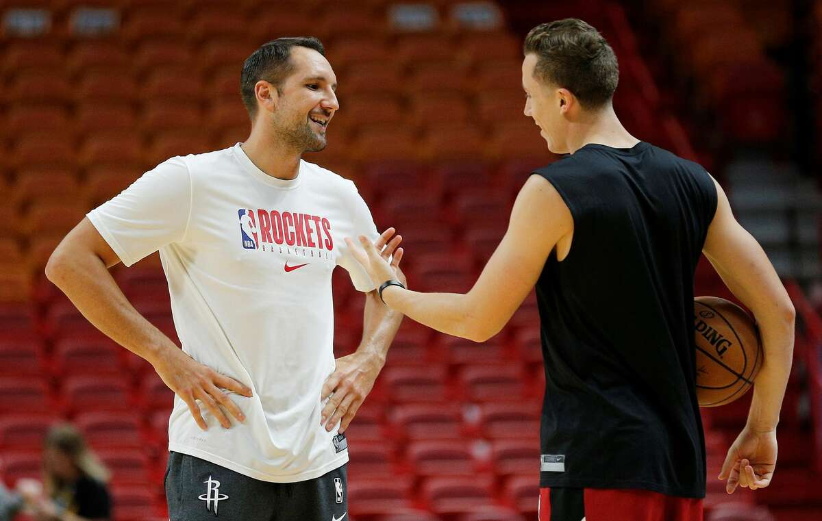 On the latest episode of his podcast The Long Shot, Duncan Robinson told a story with Ryan Anderson about his good friend telling him before a 2019 preseason game that someone on the Rockets staff had asked him why Robinson was startingfor the Heat. This photo was taken during a pregame conversation from that preseason game in Miami on Oct. 18, 2019.