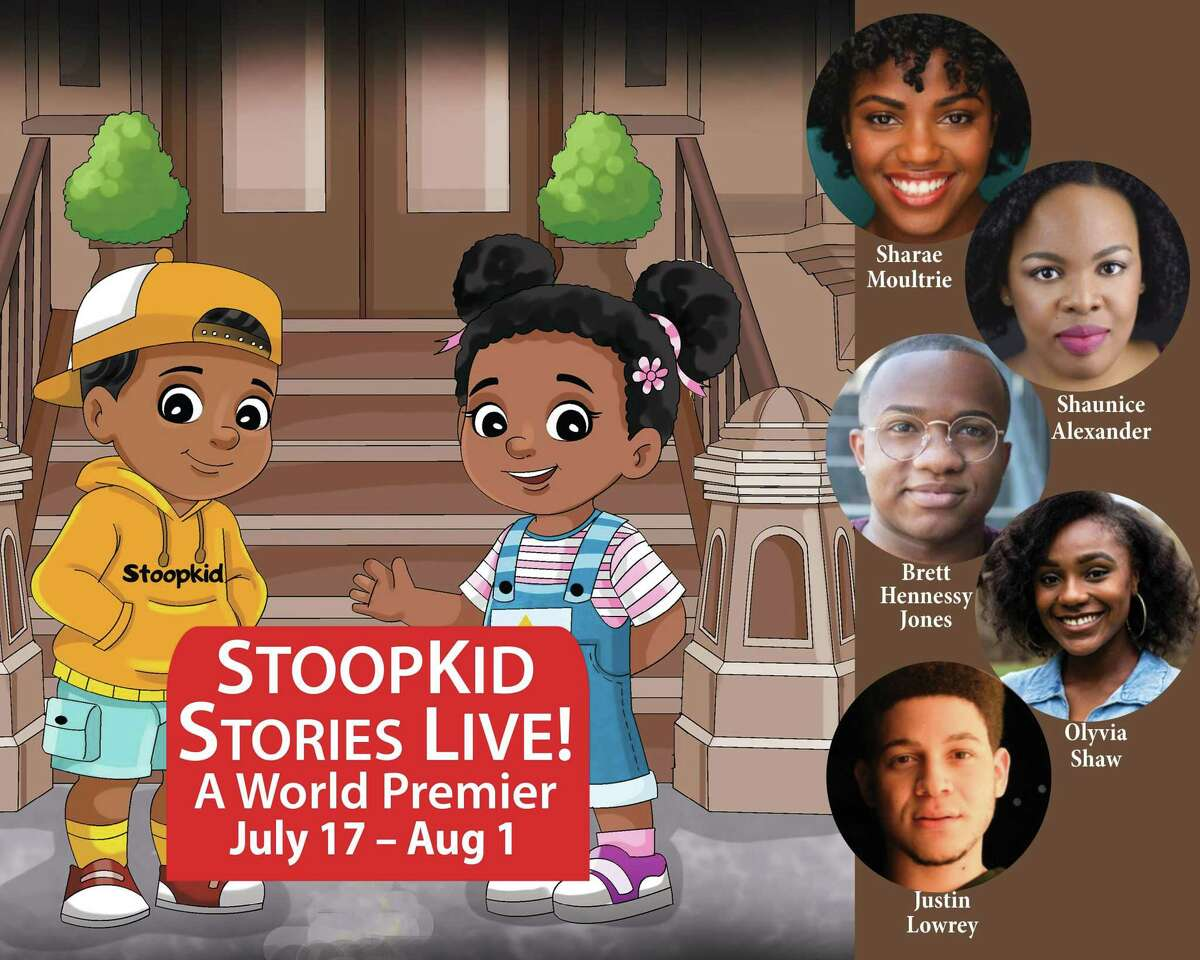"""""""StoopKid Stories Live!"""" (world premiere,) image with cast: Shaunice Alexander, Brett Hennessy Jones, Justin Lowrey, Sharae Moultrie, and Olyvia Shaw."""