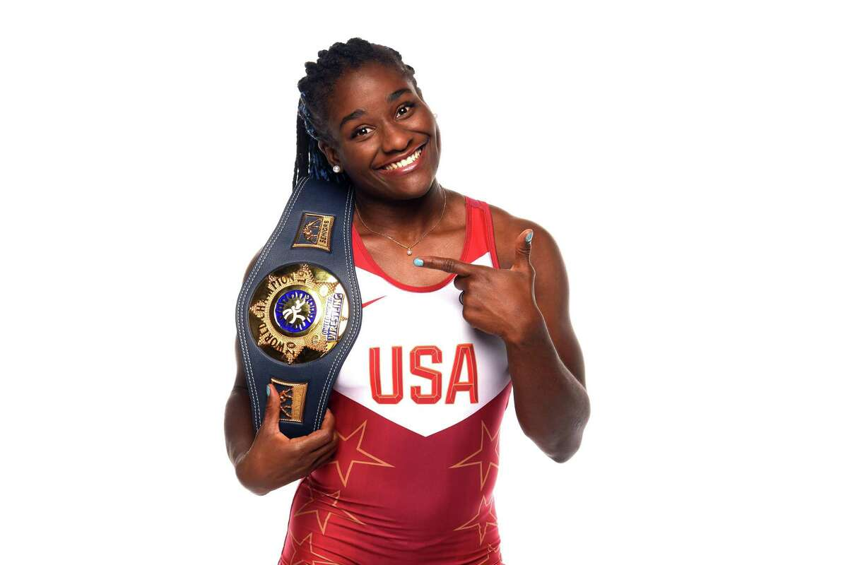 Tamyra Mensak-Stock, at the Team USA photo day before the Olympics were potponed, brings a world title with her to Tokyo.