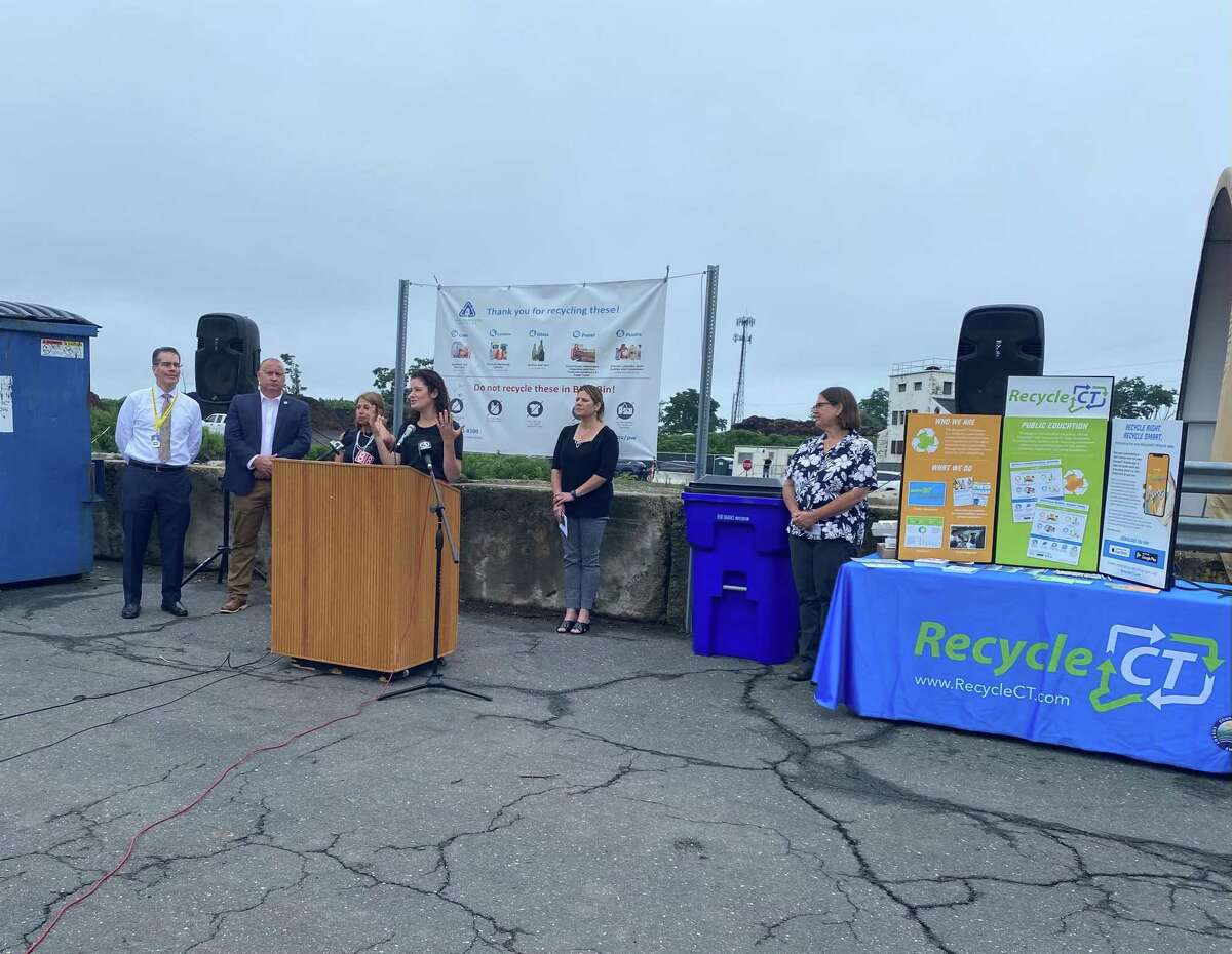 State and local officials announced the launch of The RecycleCT Wizard app at the West Hartford Yard Waste and Recycling Center on July 14, 2021.