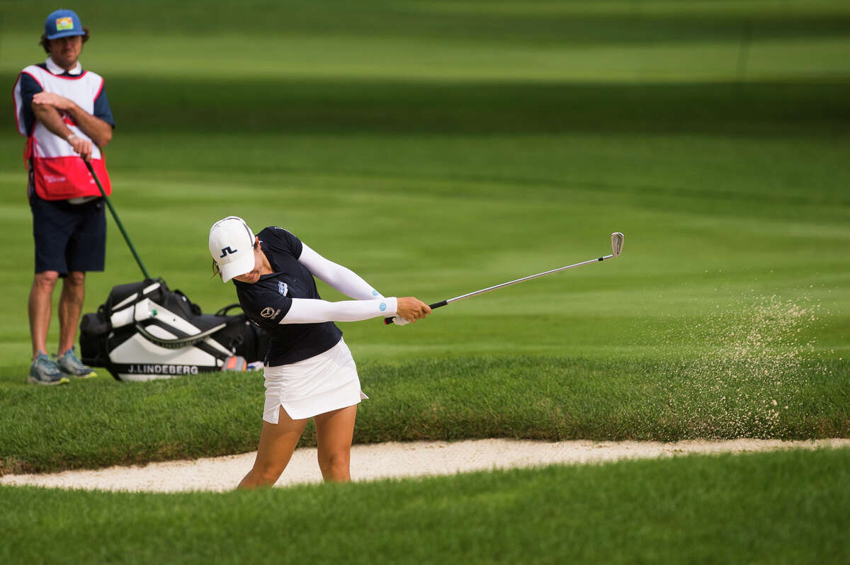 LPGA player Kelly Tan plays the 1st hole during round two of the Dow Great Lakes Bay Invitational Thursday, July 15, 2021 at the Midland Country Club. (Katy Kildee/kkildee@mdn.net)