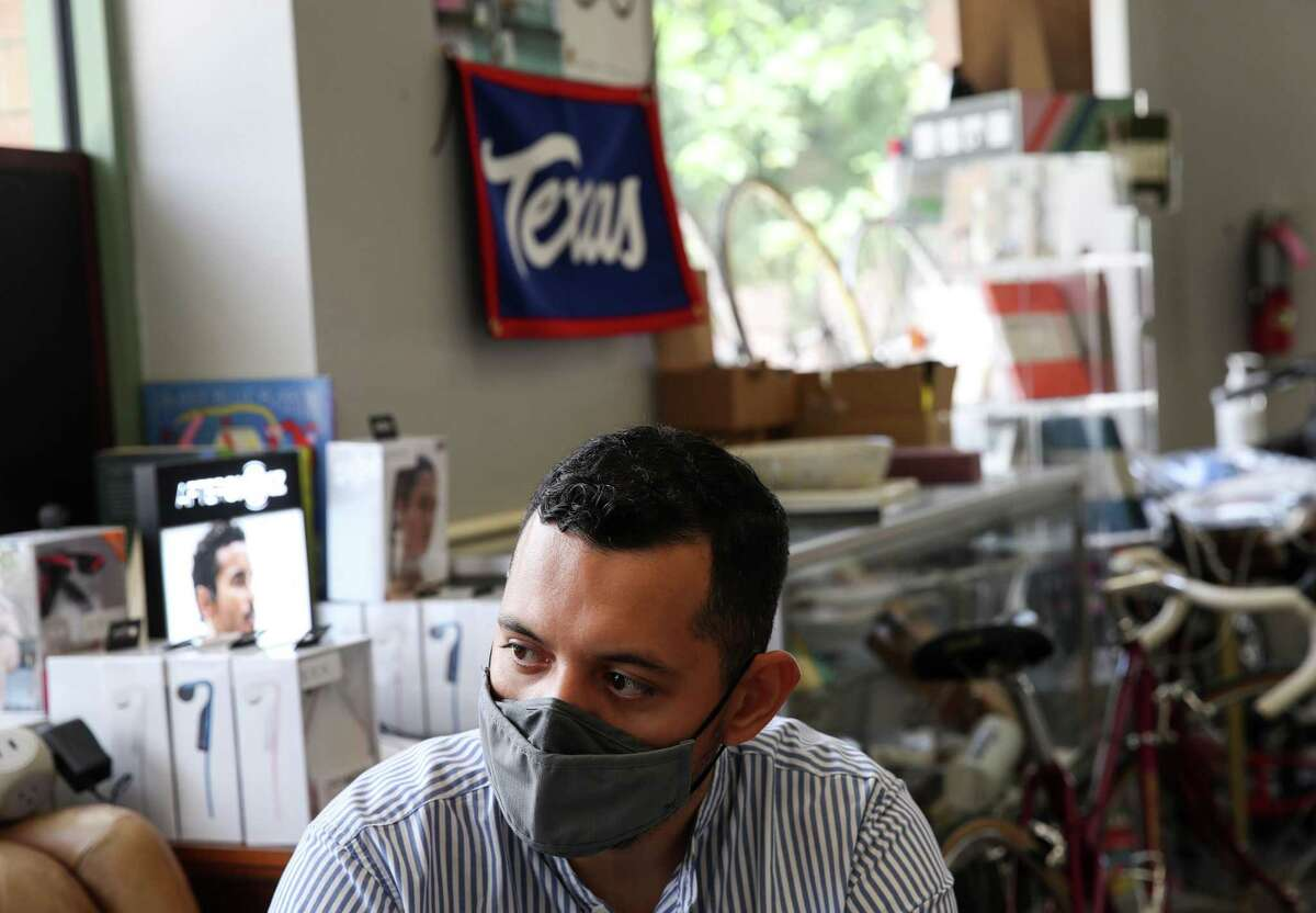 Josh Mejia, executive director of the Brownsville Community Improvement Corp., talks to a reporter Tuesday, June 15, 2021, at a coffee shop in Brownsville.
