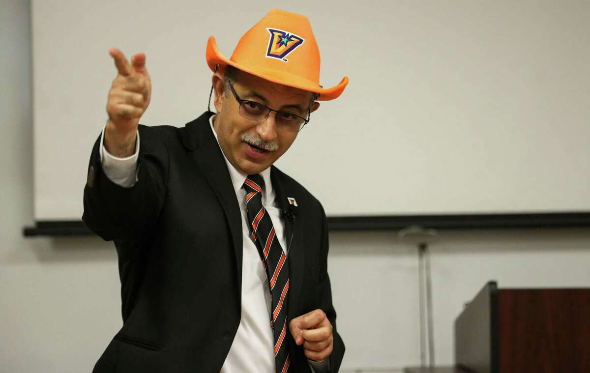 Ala Qubbaj, dean of the college of engineering and computer science, talks about the university Wednesday, June 16, 2021, at the University of Texas Rio Grande Valley campus in Brownsville. Students demonstrated projects they created to autonomously launch weather balloons.