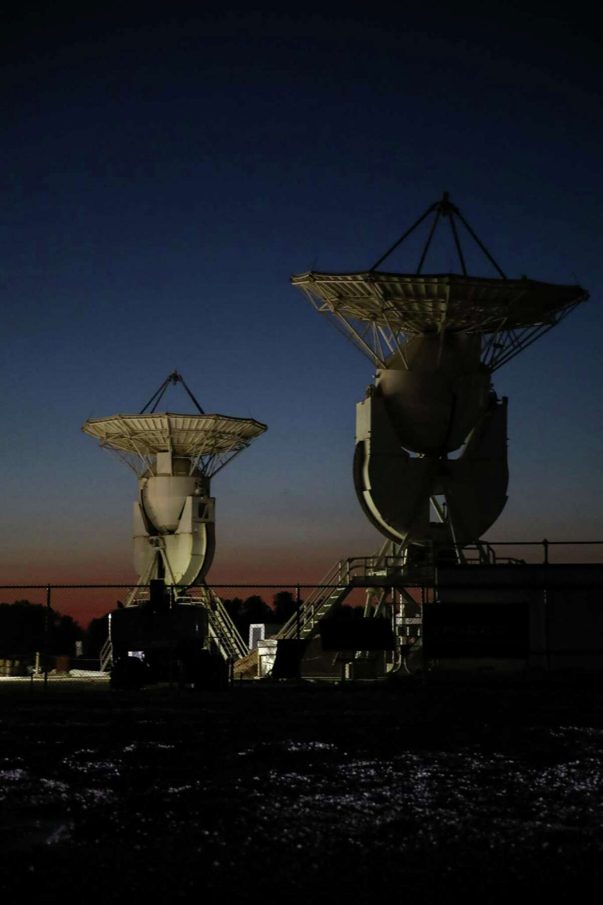 Communications equipment aims towards the sky at the SpaceX South Texas Tracking Station on Monday, June 14, 2021, in Boca Chica, an unincorporated area near Brownsville.