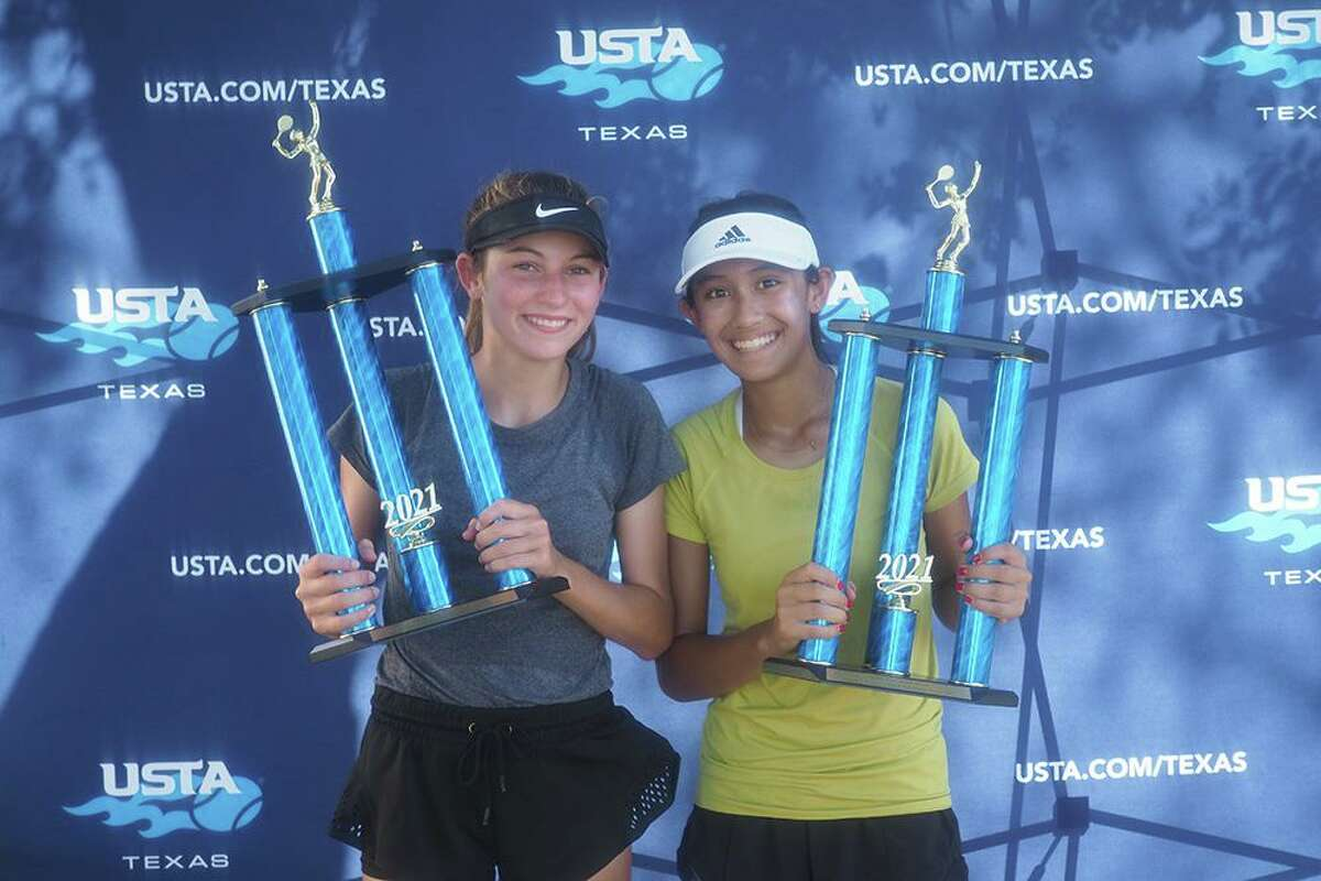 Josephine Lombardi and Laila Nguyen of Houston won the 14-and-under girls doubles championship at the 2021 USTA Texas Slam in Georgetown.