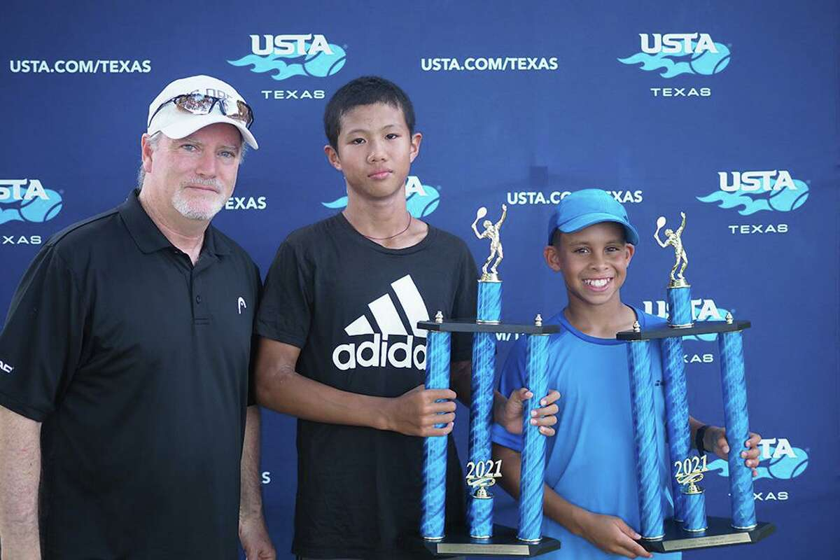 Elliott Awomoyi of Cypress and Aidan Xu of Katy won 12-and-under boys doubles championship at the 2021 USTA Texas Slam in Georgetown.