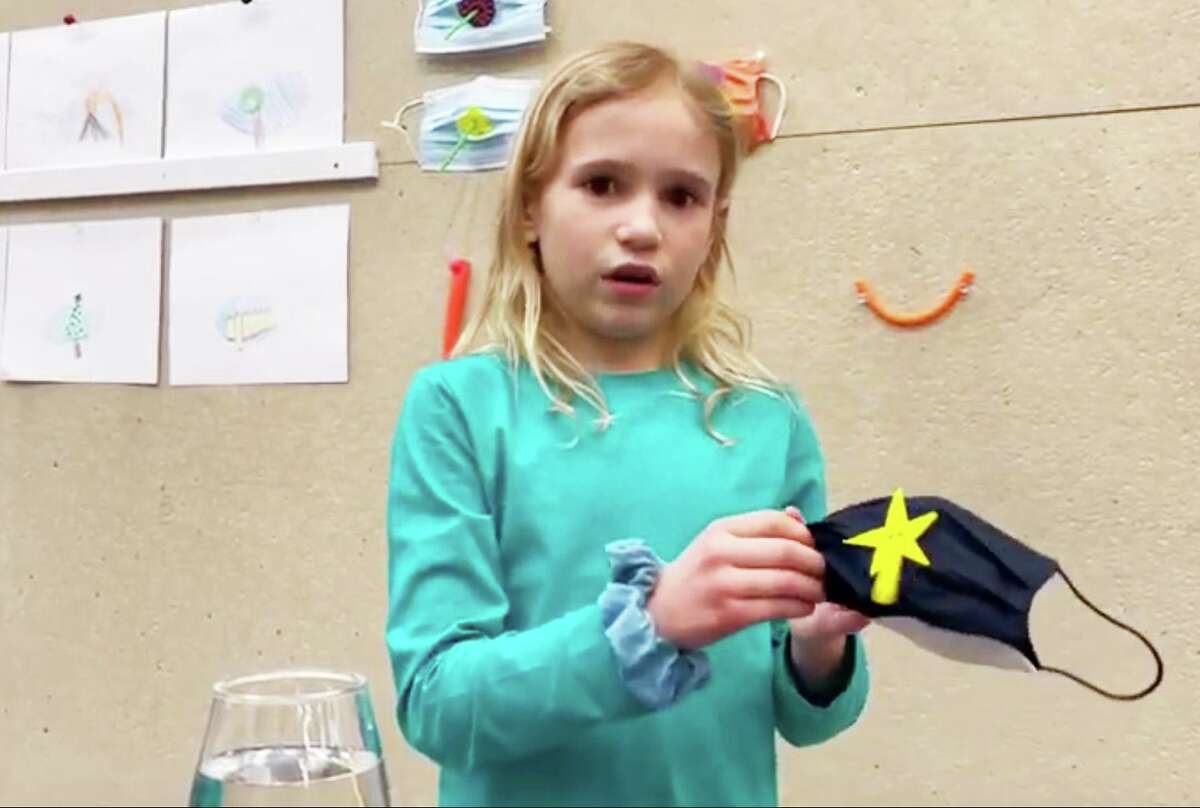 Chester first-grader Liv Ziemann was among 15 students from throughout Connecticut honored recently for their ingenuity at the sixth annual Raytheon Technologies Invention Convention U.S. Nationals. She created the Drink-O-Mask.
