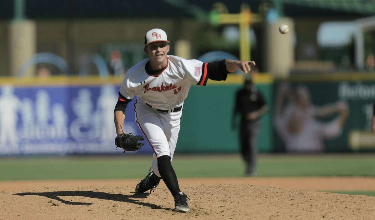 Sam Houston St. pitcher Kyle Backhus (19) pitches in the top of the fifth inning during the 2017 Southland Conference Tournament against Southeastern Louisiana at Constellation Field on Thursday, May 25, 2017, in Sugar Land. ( Elizabeth Conley / Houston Chronicle )