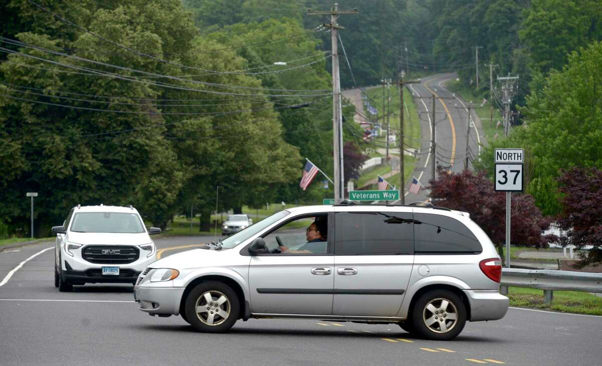 The intersection of Route 37 and Route 39 in New Fairfield, Conn., the morning of July 13, 2021.