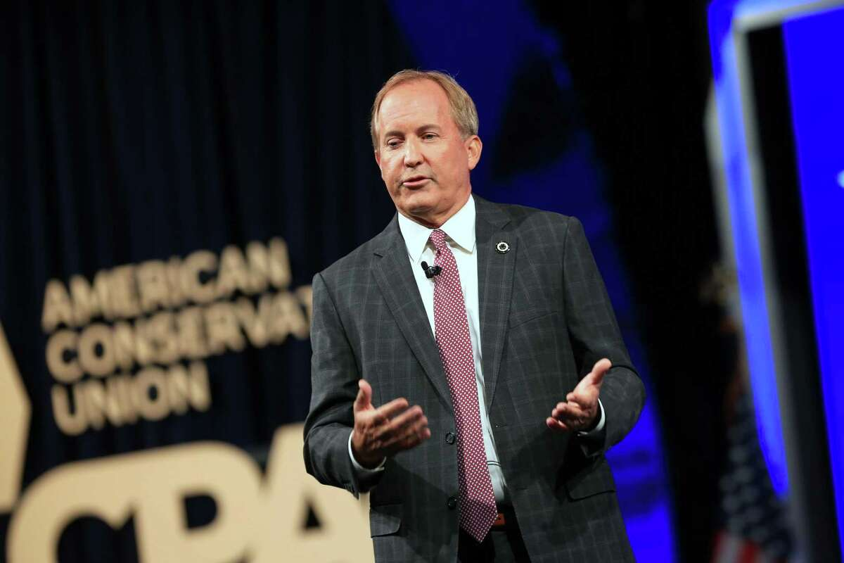 """Ken Paxton, Texas attorney general, speaks during the Conservative Political Action Conference (CPAC) in Dallas, Texas, U.S., on Sunday, July 11, 2021. The three-day conference is titled """"America UnCanceled."""" Photographer: Dylan Hollingsworth/Bloomberg"""