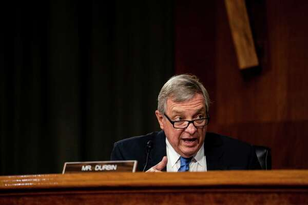 Sen. Dick Durbin, D-Illinois, speaks during a a Senate Judiciary Committee hearing on Capitol Hill in Washington.