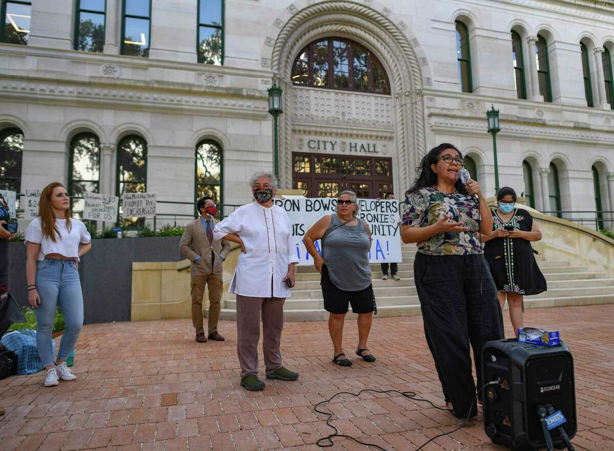 Jessica Guerrero, chair of San Antonio's Housing Commission, speaks during a press conference regarding the city's housing at City Hall on Wednesday, July 14, 2021.