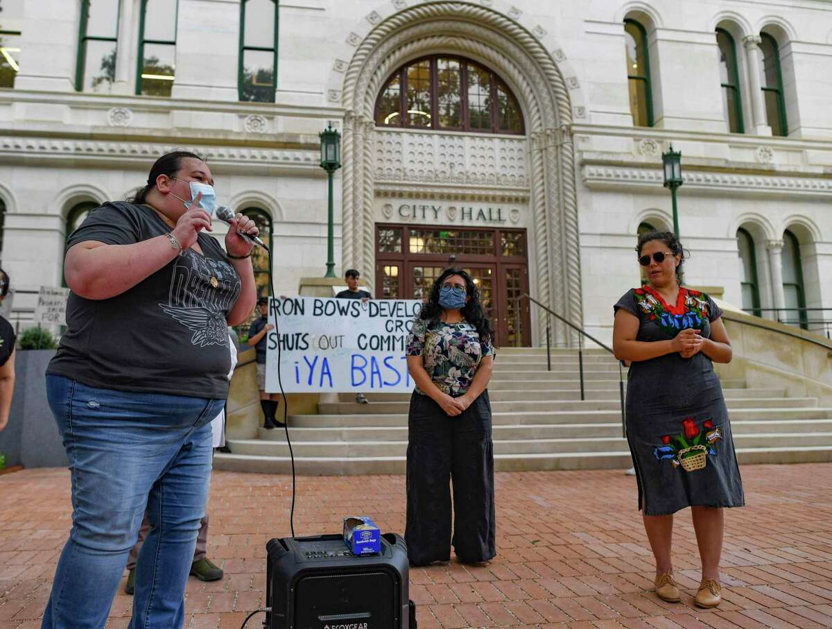 Kayla Miranda, a housing advocate who lives in public housing, speaks during a press conference regarding the city's housing at City Hall on Wednesday, July 14, 2021.
