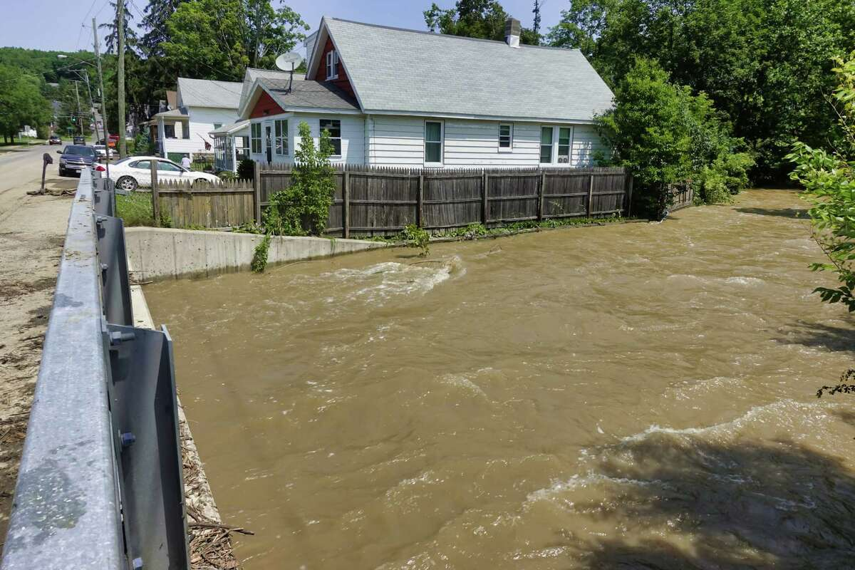 This month is the third wettest July on record in the Albany area. During the month, the region was hit with waves of thunderstorms that caused a variety of problems. This photograph shows the Wynants Kill stream on Thursday, July 15, 2021, in Wynantskill,. Heavy rains caused flooding in certain areas in Rensselaer County. (Paul Buckowski/Times Union)