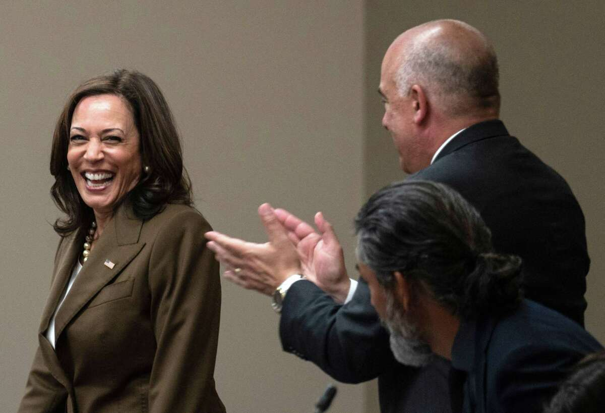 US Vice President Kamala Harris smiles as she arrives to meet with Democratic members of the Texas State Legislature at the American Federation of Teachers building near the US Capitol in Washington, DC, July 13, 2021. (Photo by ANDREW CABALLERO-REYNOLDS / AFP) (Photo by ANDREW CABALLERO-REYNOLDS/AFP via Getty Images)