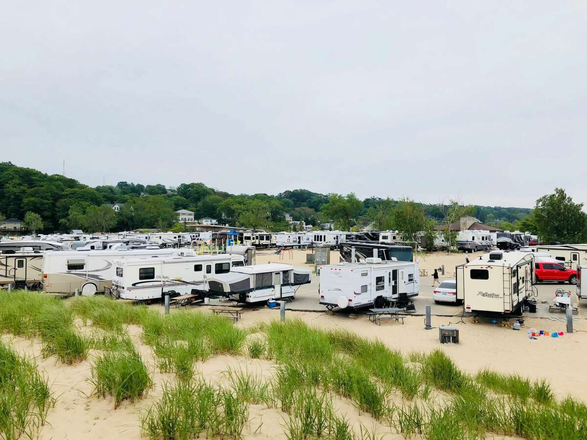 Recreation vehicles gather at Grand Haven State Park.