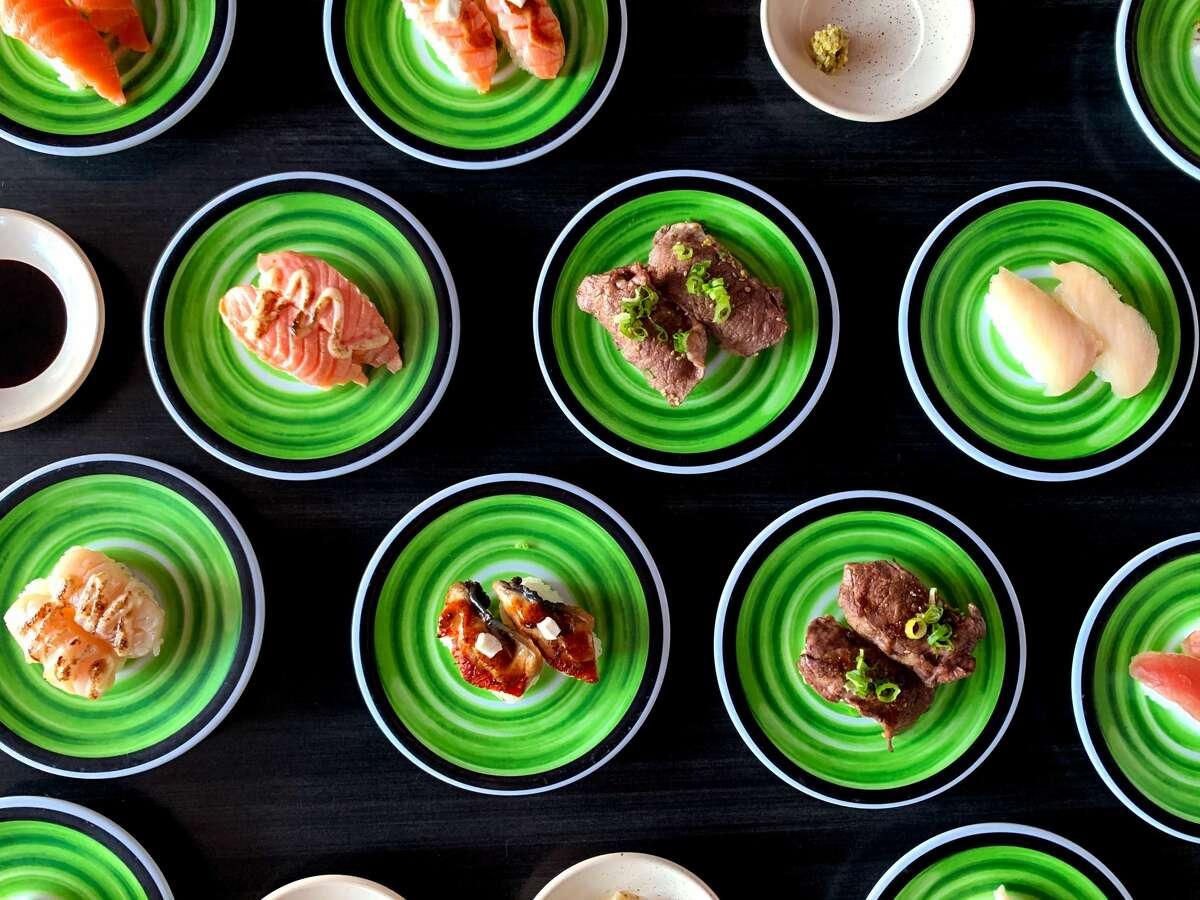 Assortment of bites from Kura Revolving Sushi Bar.