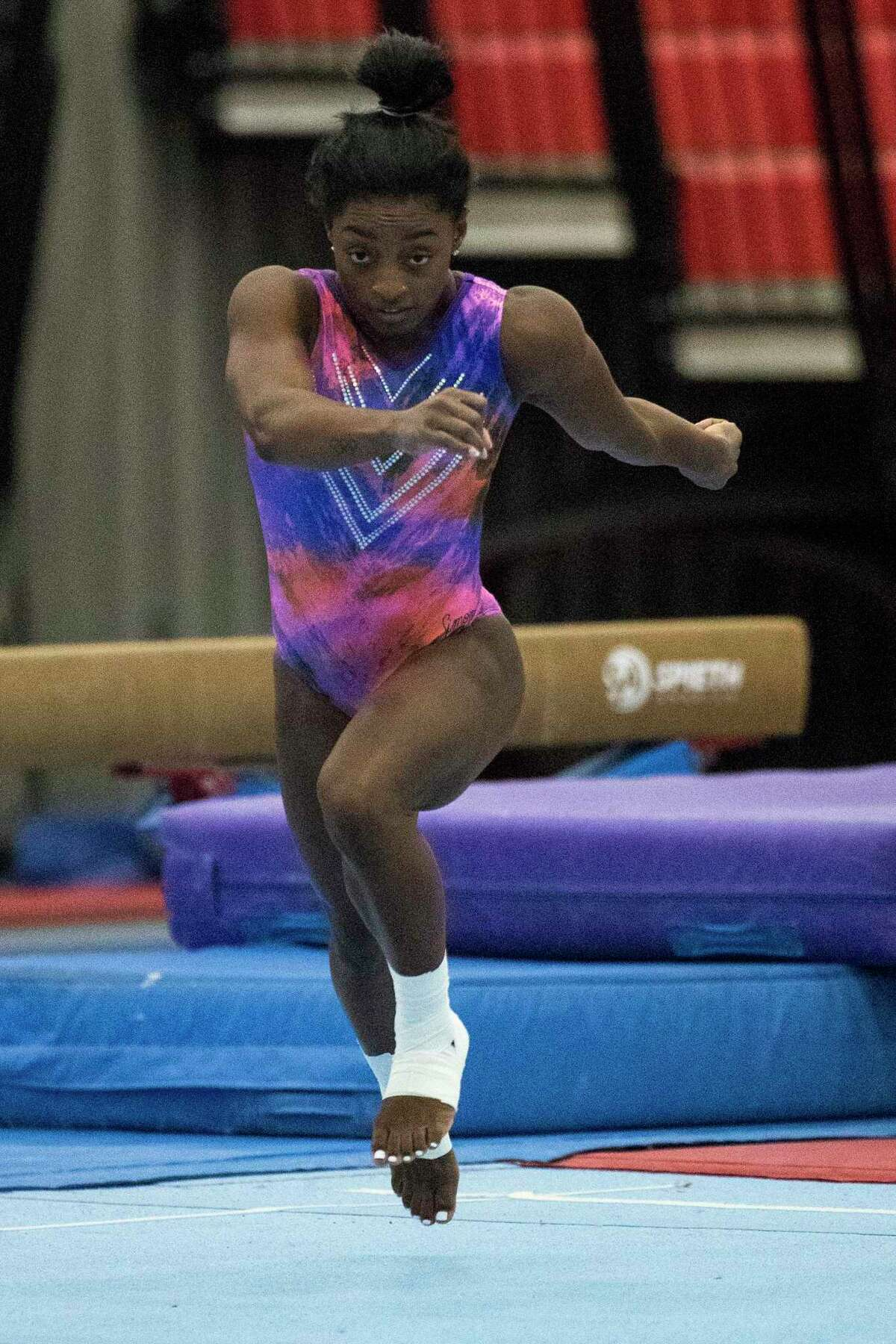 Olympic gymnast Simone Biles does a tumbling run during a workout as she prepares for the upcoming Tokyo Olympics at World Champions Centre Tuesday, July 6, 2021 in Spring.