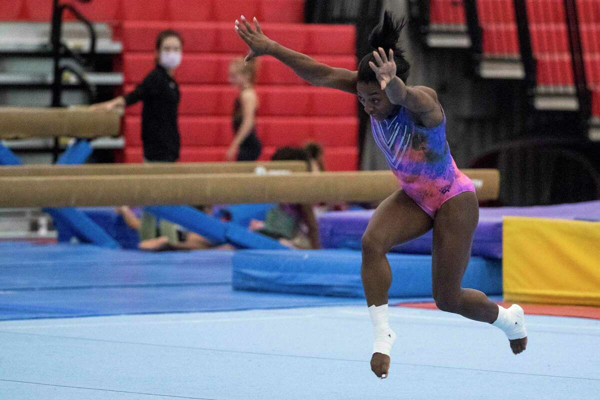 Olympic gymnast Simone Biles does a tumbling run during a workout as she prepares for the upcoming Tokyo Olympics at World Champions Centre, July 6, 2021 in Spring.