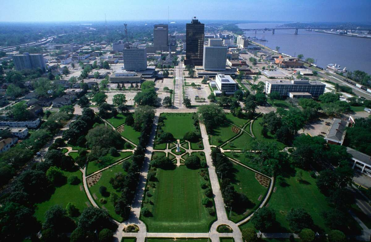 View from the observation tower of the Louisiana State Capitol, Baton Rouge. The 34-story Art-Deco skyscraper was built in 1931 under the guidance of Governor Huey P Long - stock photo