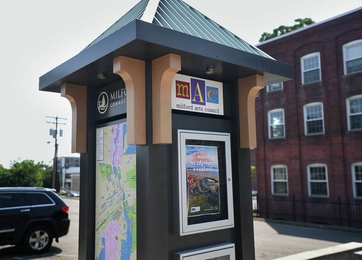 A kiosk advertises upcoming events outside the Milford Arts Council's headquarters at 40 Railroad Avenue in Milford Conn. on Thursday, July 15, 2021.