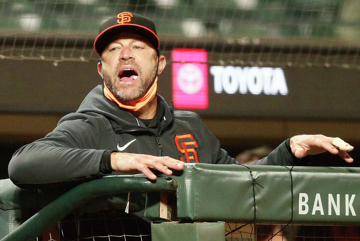 San Francisco Giants manager Gabe Kapler in the eight inning during an MLB game against the San Diego Padres at Oracle Park, Friday, May 7, 2021, in San Francisco, Calif.