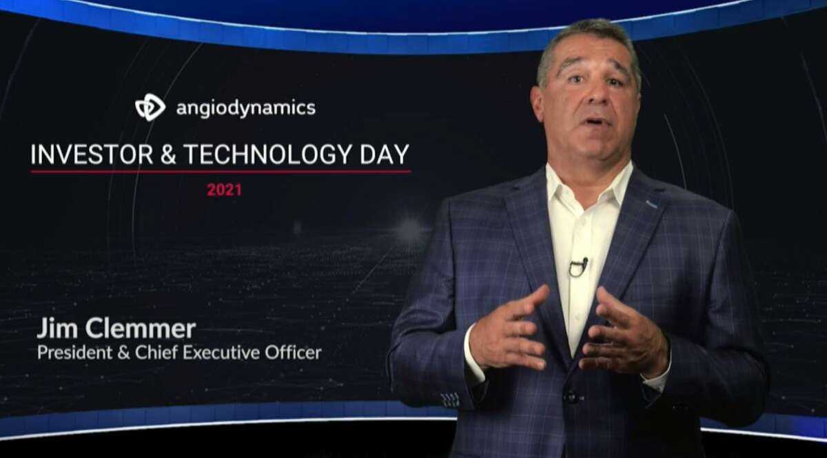 AngioDynamics CEO James Clemmer during a July 13, 2021 investor presentation to tell analysts and shareholders about the company's transformation.