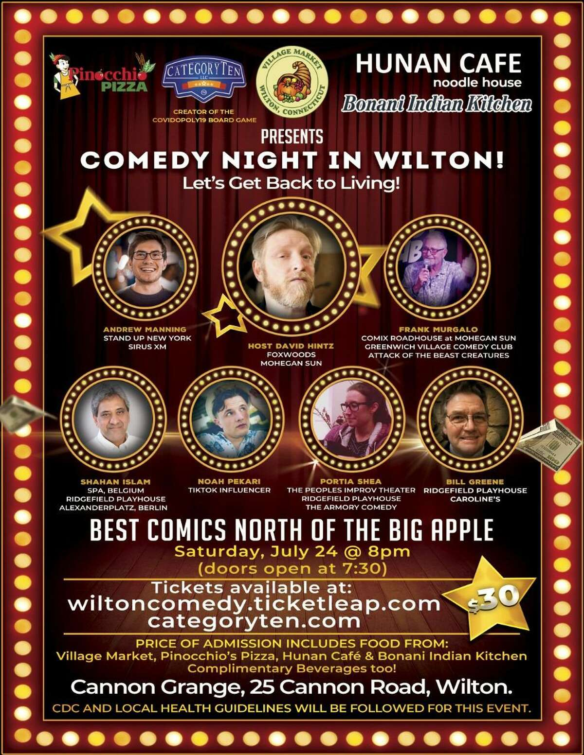 Now that businesses are fully reopening amid the coronavirus pandemic, CategoryTen, local restaurants, Cannon Grange, Shahan Islam of Wilton, and comedians are trying to bring back quality live entertainment with a Comedy Night in the town at the community organization on Saturday, July 24, at 8 p.m.