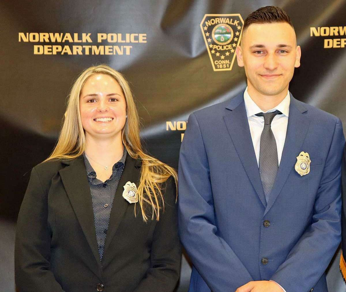 Chealsey Ortiz, left, and Mario Pecirep have been rehired by the Bridgeport Police Department after resigning from the Norwalk police one day after being sworn in.