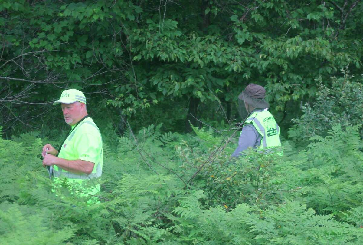 Community Emergency Response Team volunteers march through the woods in Brethren on Wednesday during a simulated search for a missing person. (Kyle Kotecki/News Advocate)