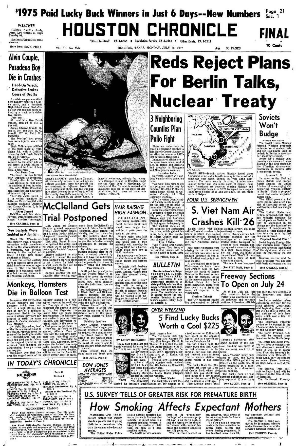 Houston Chronicle front page for July 16, 1962.