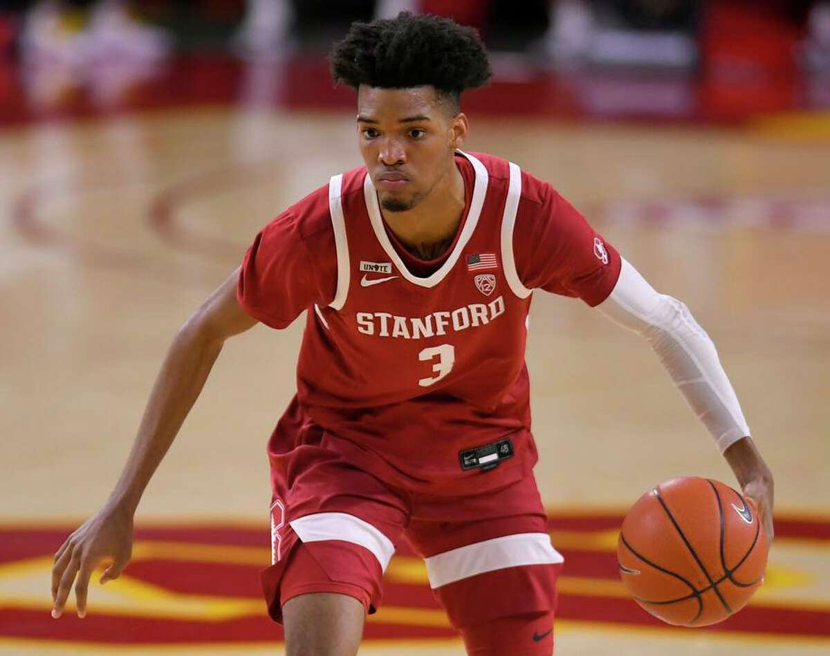 Ziaire Williams #3 of the Stanford Cardinal plays the USC Trojans at Galen Center on March 3, 2021 in Los Angeles, California.