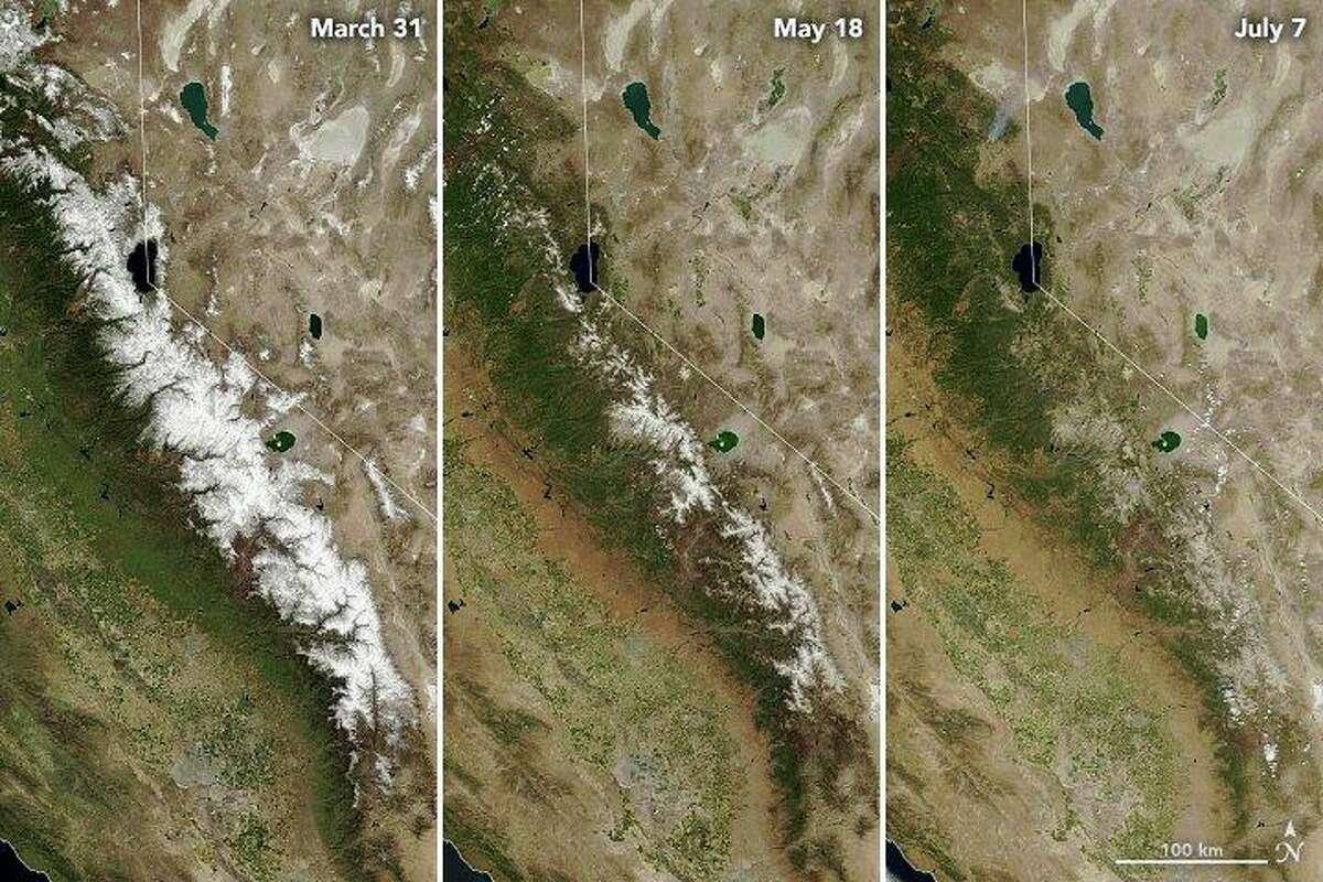 Satellite images showing the vanishing Sierra snowpack.