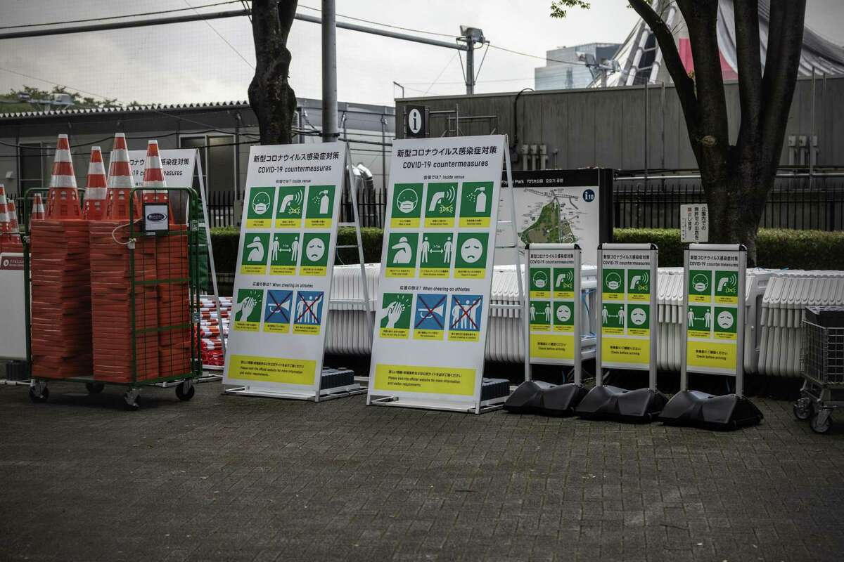 Coronavirus health notices are stored near Yoyogi National Gymnasium, one of the venues for the Tokyo Olympics.