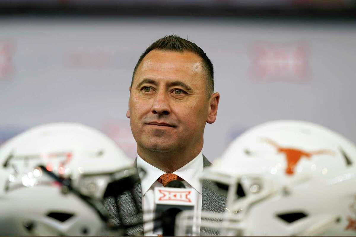 Texas head coach Steve Sarkisian listens to a question during the NCAA college football Big 12 media days.